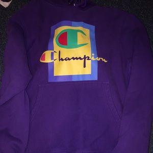 Purple Champion Men's Graphic Hoodie